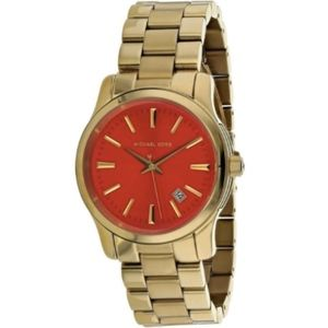 NEW WITH BOX! Michael Kors -- Gold Watch, Red Face